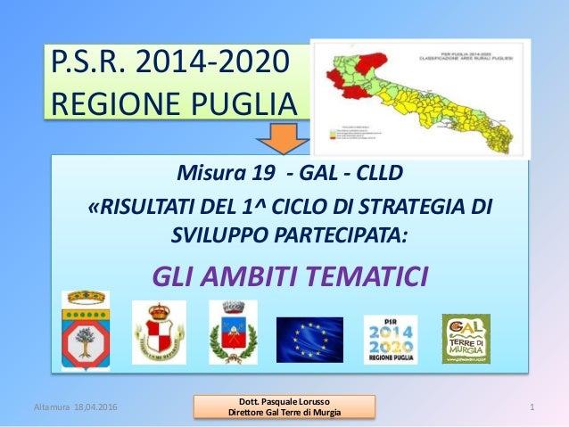 P.S.R. 2014-2020 REGIONE PUGLIA Misura 19 - GAL - CLLD «RISULTATI DEL 1^ CICLO DI STRATEGIA DI SVILUPPO PARTECIPATA: GLI A...