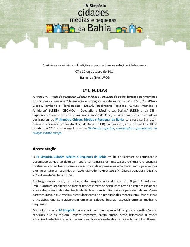 Dinâmicas espaciais, contradições e perspectivas na relação cidade-campo 07 a 10 de outubro de 2014 Barreiras (BA), UFOB 1...
