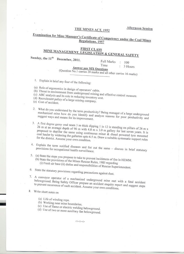 first class mine manager EXAM (UR)   legislation question paper 2011