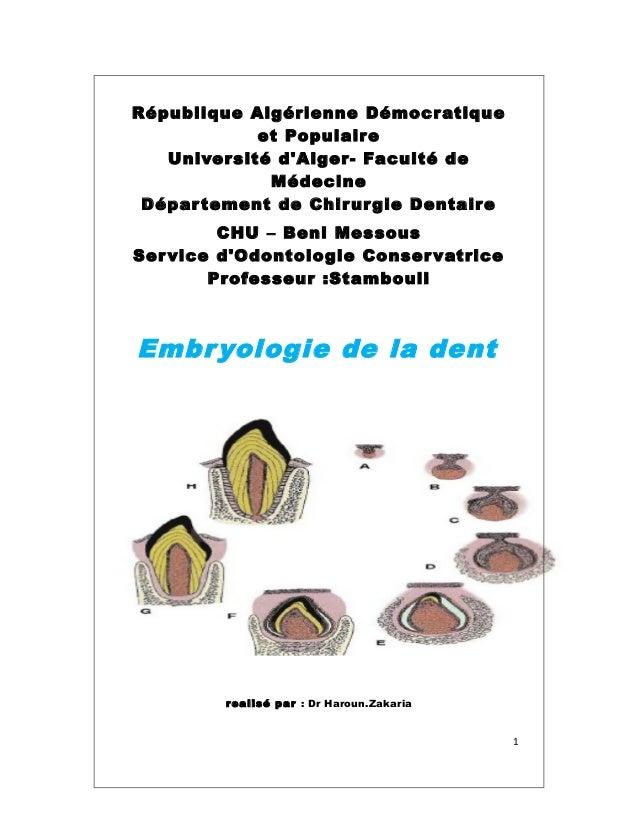 République Algérienne Démocratique et Populaire Université d'Alger- Faculté de Médecine Département de Chirurgie Dentaire ...