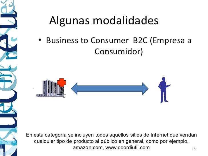 Algunas modalidades     • Business to Consumer B2C (Empresa a                    Consumidor)En esta categoría se incluyen ...