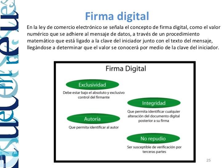 Firma digitalEn la ley de comercio electrónico se señala el concepto de firma digital, como el valornumérico que se adhier...