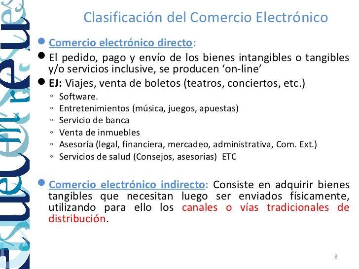 Clasificación del Comercio ElectrónicoComercio electrónico directo:El pedido, pago y envío de los bienes intangibles o t...