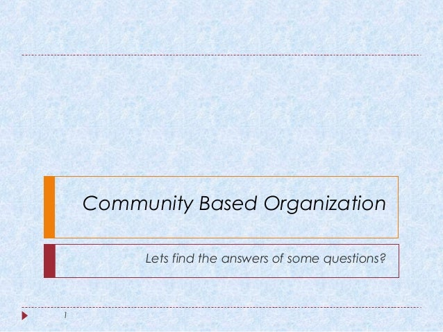 characteristics of community based organization