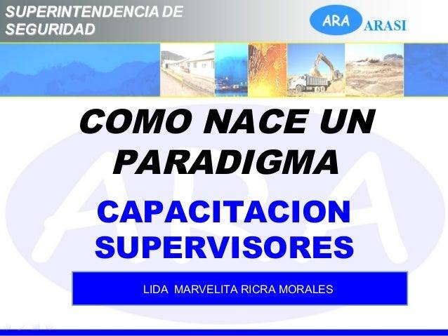 COMO NACE UN PARADIGMA CAPACITACION SUPERVISORES LIDA MARVELITA RICRA MORALES