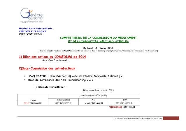 Hôpital Privé Sainte-Marie CHALON SUR SAONE CME / COMEDIMS COMPTE-RENDU DE LA COMMISSION DU MEDICAMENT ET DES DISPOSITIFS ...