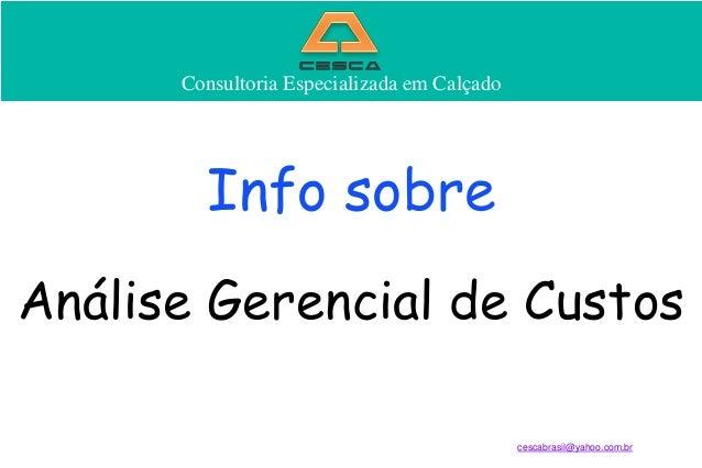 Consultoria Especializada em Calçado  Consultoria Especializada em Calçado  Info sobre Análise Gerencial de Custos cescabr...