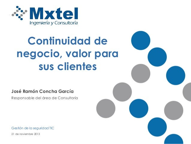 Continuidad de negocio, valor para sus clientes José Ramón Concha García Responsable del área de Consultoría  Gestión de l...