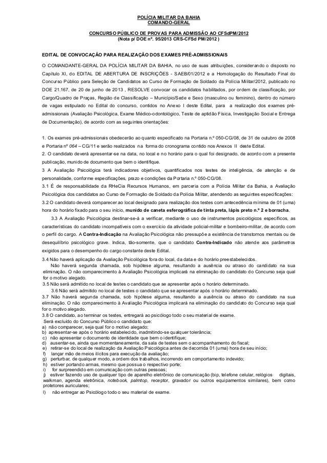 POLÍCIA MILITAR DA BAHIA COMANDO-GERAL CONCURSO PÚBLICO DE PROVAS PARA ADMISSÃO AO CFSdPM/2012 (Nota p/ DOE nº. 95/2013 CR...