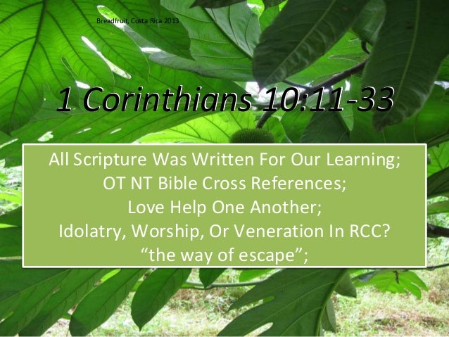 1 Corinthians 10:11-33 All Scripture Was Written For Our Learning; OT NT Bible Cross References; Love Help One Another; Id...