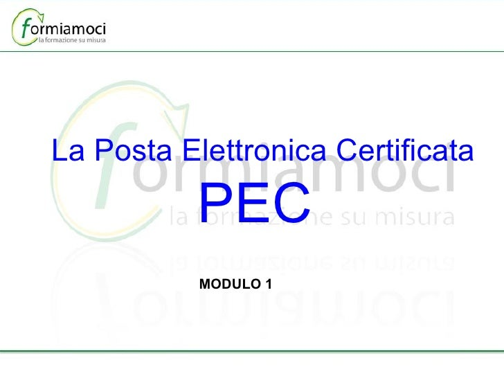 La Posta Elettronica Certificata PEC  MODULO 1