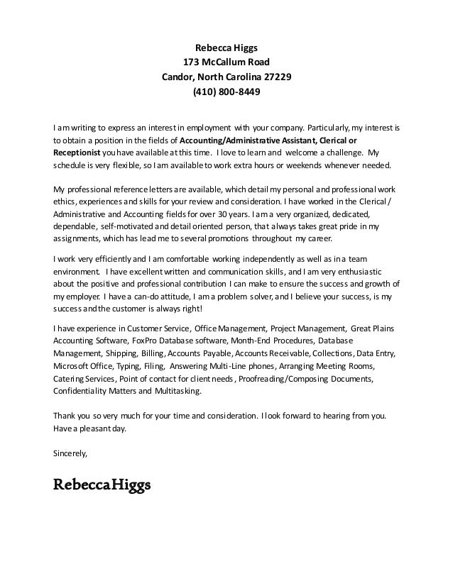 Cover Letter And Resume. Rebecca Higgs 173 McCallum Road Candor, North  Carolina 27229 (410) 800 8449 ...  Cover Letters That Worked