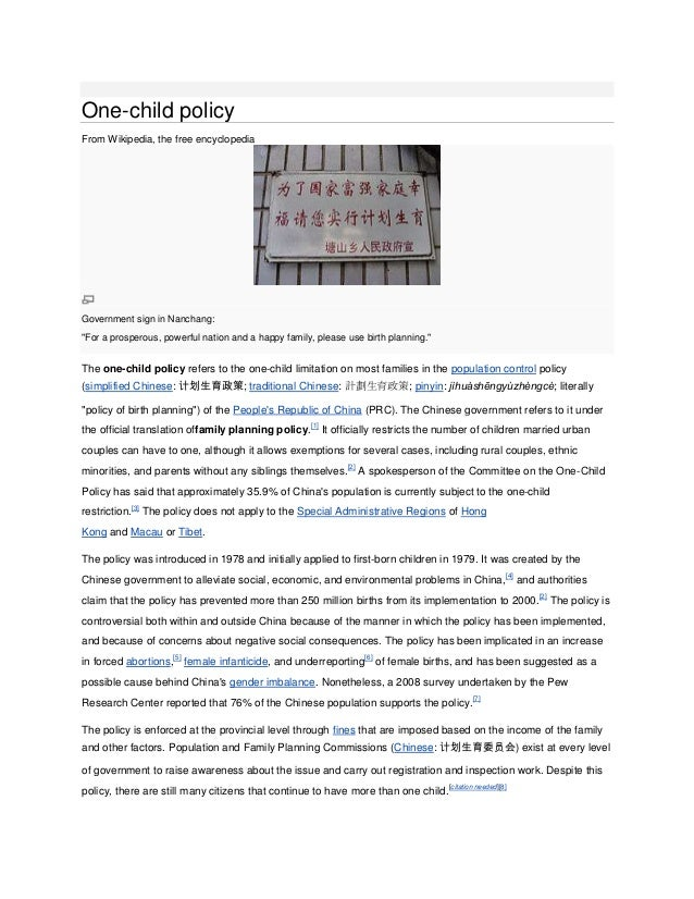 """One-child policyFrom Wikipedia, the free encyclopediaGovernment sign in Nanchang:""""For a prosperous, powerful nation and a ..."""
