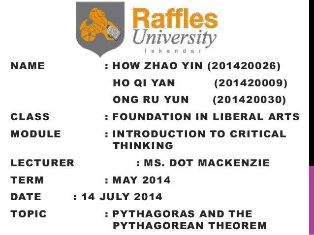 NAME : HOW ZHAO YIN (201420026) HO QI YAN (201420009) ONG RU YUN (201420030) CLASS : FOUNDATION IN LIBERAL ARTS MODULE : I...