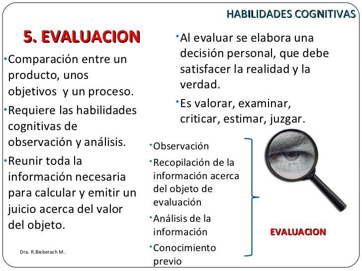 HABILIDADES COGNITIVAS <ul><li>Comparación entre un producto, unos objetivos  y un proceso.  </li></ul><ul><li>Requiere la...