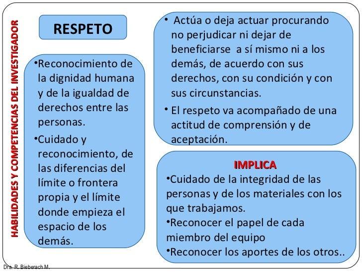 HABILIDADES Y COMPETENCIAS DEL INVESTIGADOR RESPETO Dra. R. Bieberach M. <ul><li>Reconocimiento de la dignidad humana y de...