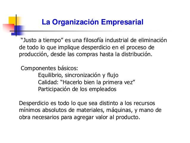 """La Organización Empresarial """"Justo a tiempo"""" es una filosofía industrial de eliminación de todo lo que implique desperdici..."""