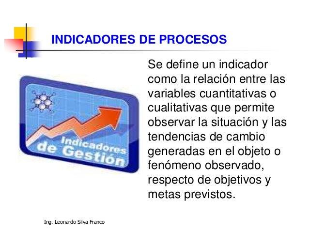 Ing. Leonardo Silva Franco Los indicadores pueden ser valores, unidades, índices, etc. Son factores para establecer el log...