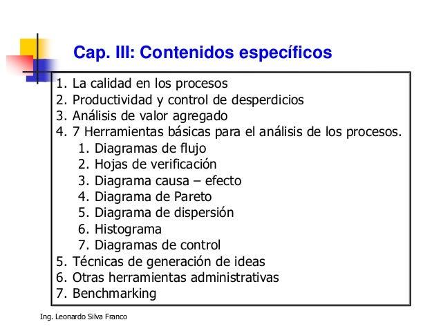 Ing. Ind. Leonardo Silva Franco, MSc118 Calidad  La calidad de un producto o servicio es la percepción que el cliente tie...