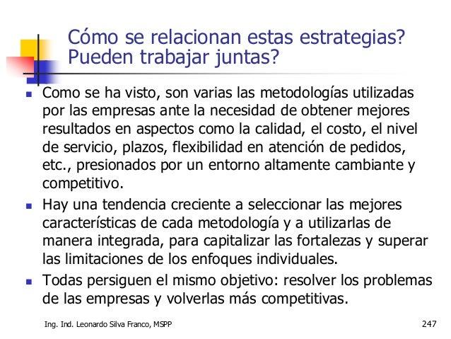 Ms. Ing. Ind. Leonardo Silva Franco 248 Cómo se relacionan estas estrategias? Pueden trabajar juntas?  Es absurdo pretend...