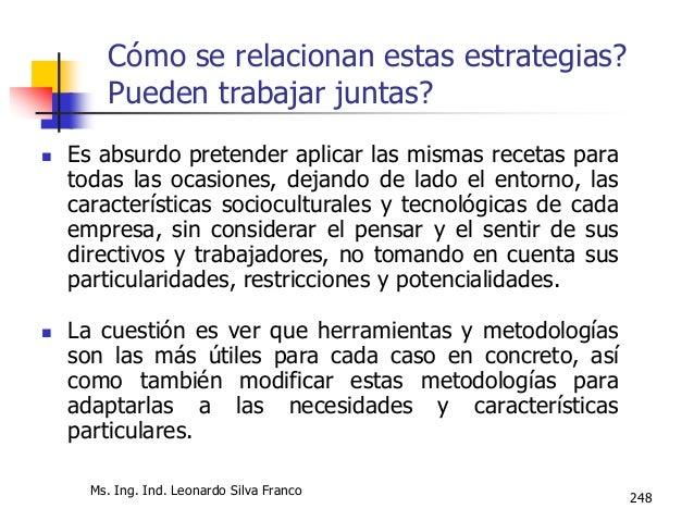 Ing. Ind. Leonardo Silva Franco, MSPP 249 Cómo se relacionan estas estrategias? Pueden trabajar juntas?