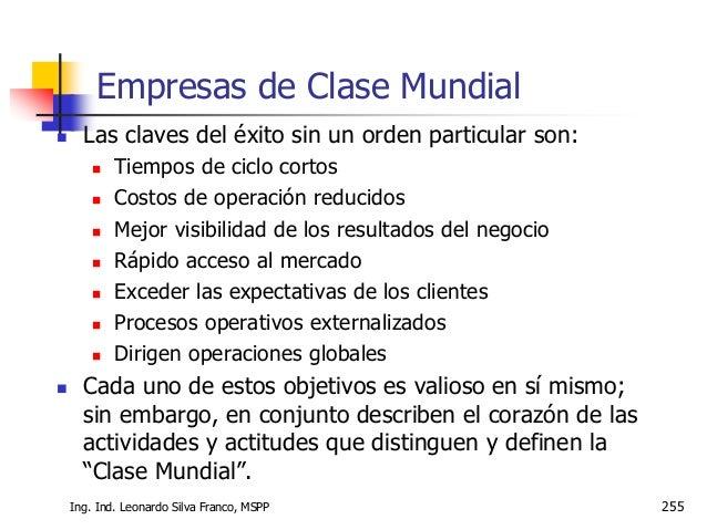 Ms. Ing. Ind. Leonardo Silva Franco 256 Hacia la Excelencia  Es muy claro que la forma de gestionar una empresa actualmen...