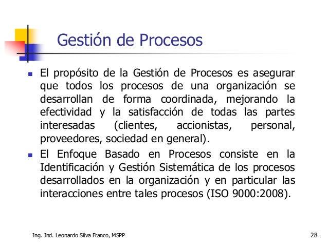 Ing. Ind. Leonardo Silva Franco, MSPP 28 Gestión de Procesos  El propósito de la Gestión de Procesos es asegurar que todo...