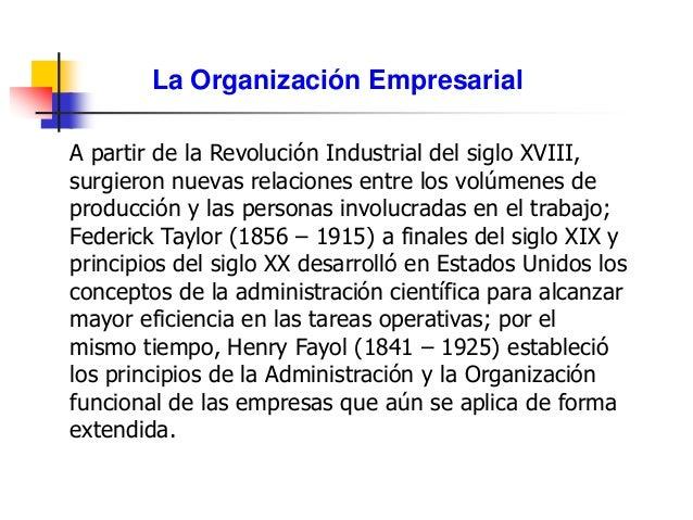 La Organización Empresarial A partir de la Revolución Industrial del siglo XVIII, surgieron nuevas relaciones entre los vo...