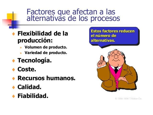 Factores que afectan a las alternativas de los procesos  Flexibilidad de la producción:  Volumen de producto.  Variedad...