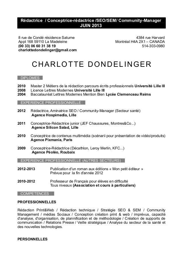cv dondelinger charlotte canada
