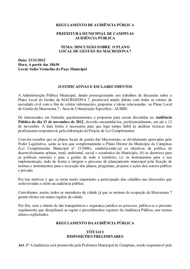 REGULAMENTO DE AUDIÊNCIA PÚBLICA                        PREFEITURA MUNICIPIAL DE CAMPINAS                                A...