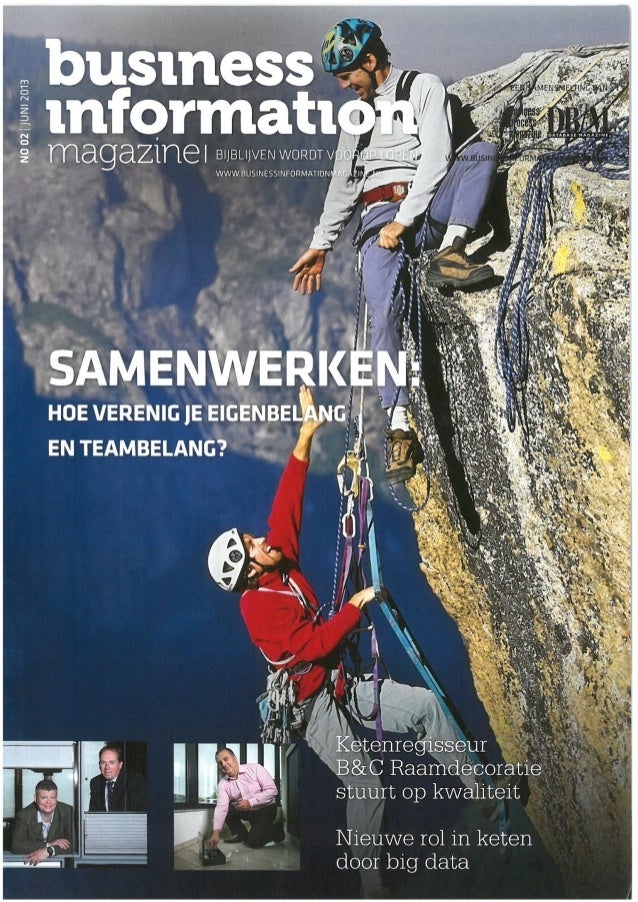 Voorpagina artikel business information magazine