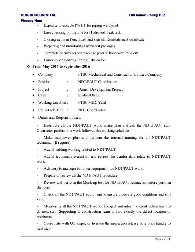 1 cv phung duc phuong nam for Punch list procedure