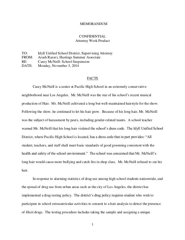 1 memorandum confidential attorney work product to idyll unified school district supervising attorney from - Law School Essay Examples