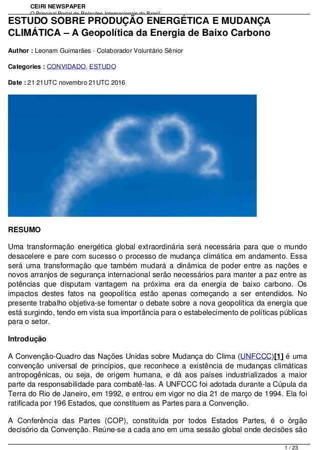 CEIRI NEWSPAPER O Principal Portal de Relações Internacionais do Brasil http://www.jornal.ceiri.com.br/ptESTUDO SOBRE PROD...