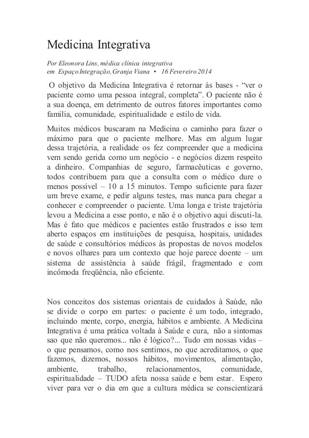 Medicina Integrativa Por Eleonora Lins, médica clínica integrativa em Espaço Integração, Granja Viana • 16 Fevereiro 2014 ...