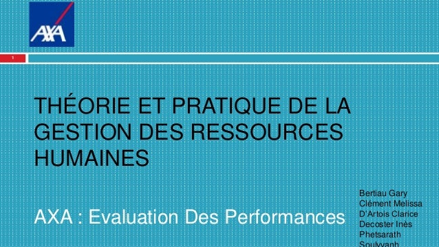 THÉORIE ET PRATIQUE DE LA GESTION DES RESSOURCES HUMAINES AXA : Evaluation Des Performances Bertiau Gary Clément Melissa D...
