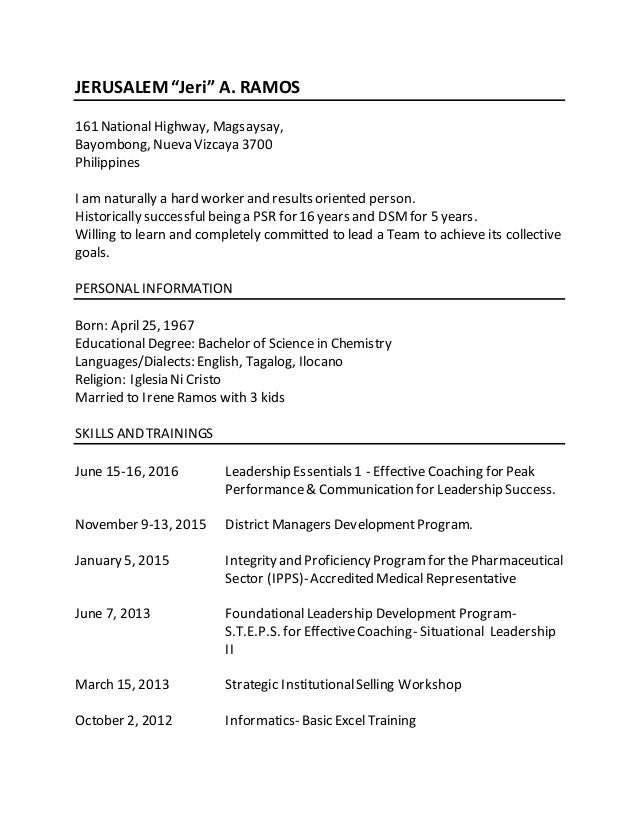 Updated Personal Resume