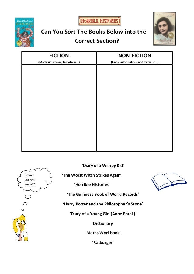 class visit worksheet fiction vs non fiction. Black Bedroom Furniture Sets. Home Design Ideas