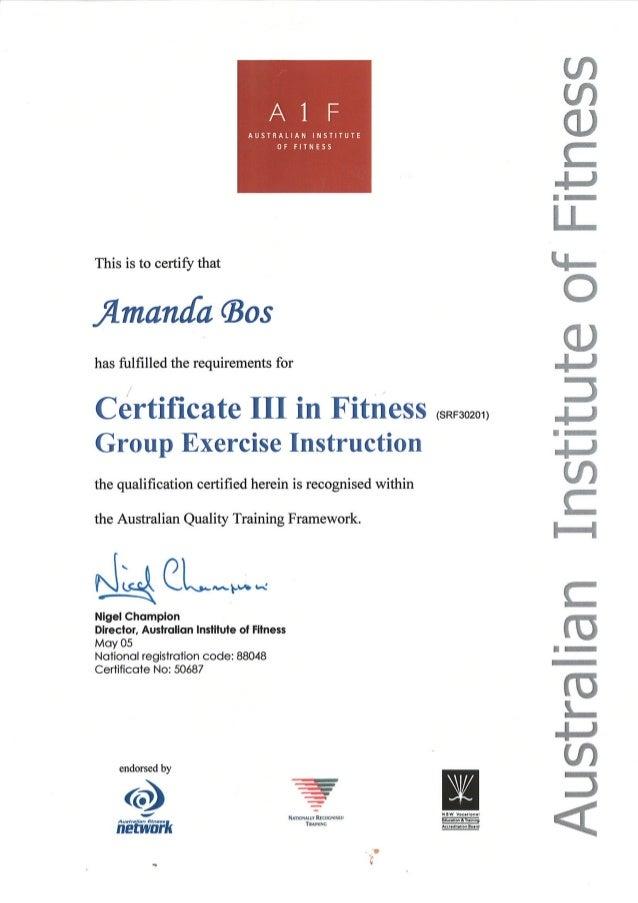 Aif Certificate Iii In Fitness
