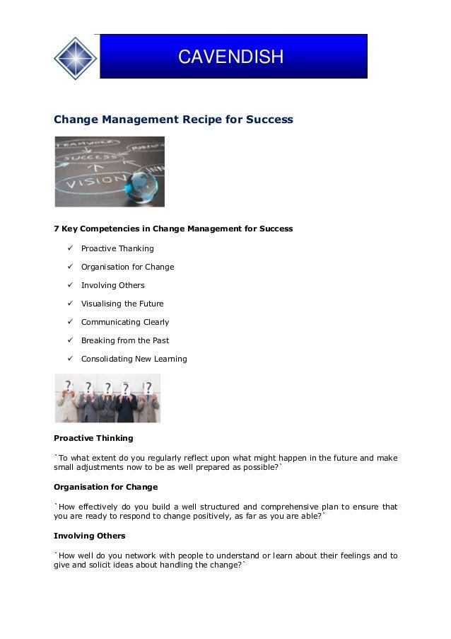 Change Management Recipe for Success 7 Key Competencies in Change Management for Success  Proactive Thanking  Organisati...