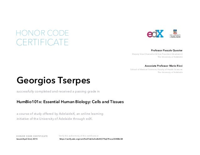 Edx Course Completion Certificate-HUMBIO101x Essential