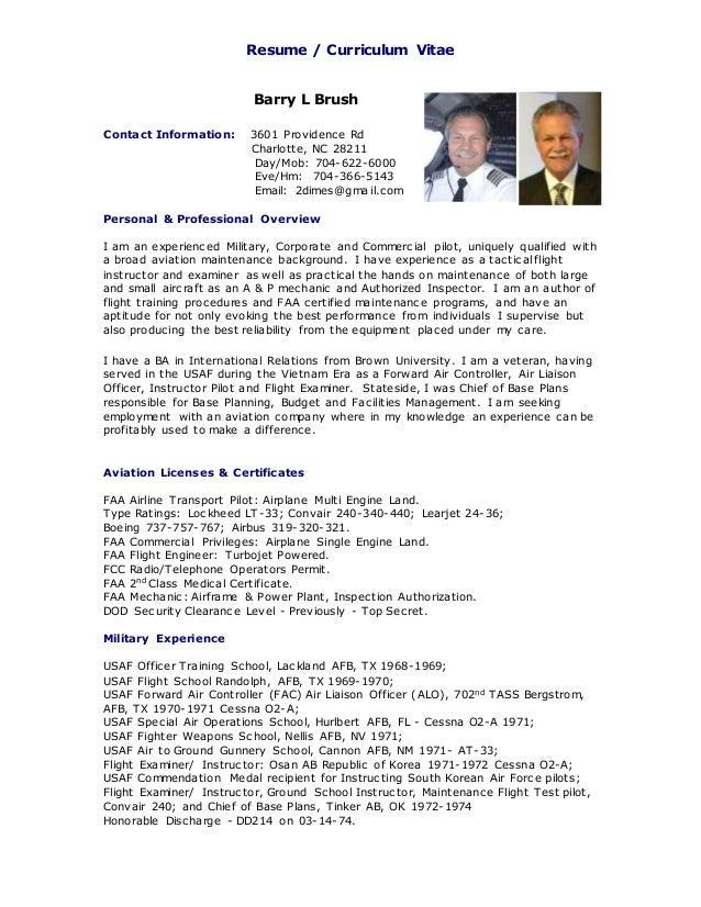 resume curriculum vitae barry l brush flight maintenance 6 02 2015