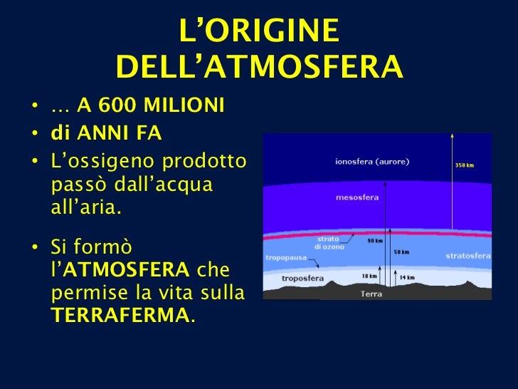 L'ORIGINE DELL'ATMOSFERA <ul><li>…  A 600 MILIONI </li></ul><ul><li>di ANNI FA </li></ul><ul><li>L'ossigeno prodotto passò...