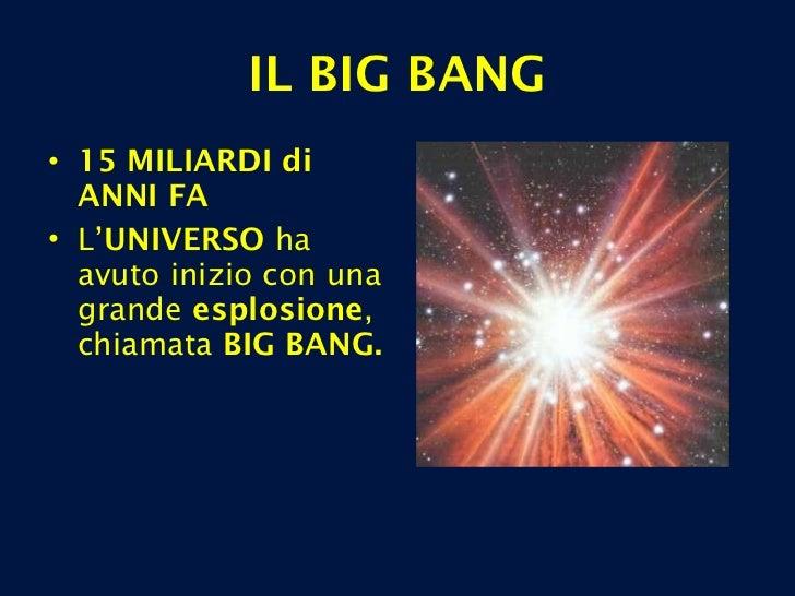 IL BIG BANG <ul><li>15 MILIARDI   di ANNI FA </li></ul><ul><li>L' UNIVERSO  ha avuto inizio con una grande  esplosione , c...