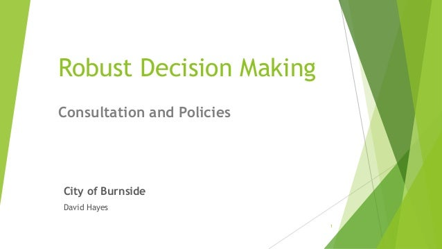 Robust Decision Making City of Burnside David Hayes Consultation and Policies 1