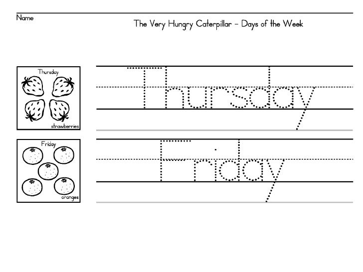 1 Days Of The Week The Very Hungry Caterpillar