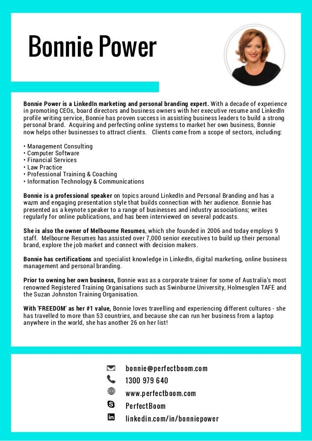 Bonnie Power Bonnie Power Is A LinkedIn Marketing And Personal Branding  Expert. With A Decade  Build Resume From Linkedin