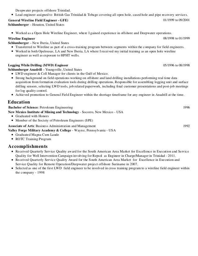 2 - Schluberger Field Engineer Sample Resume