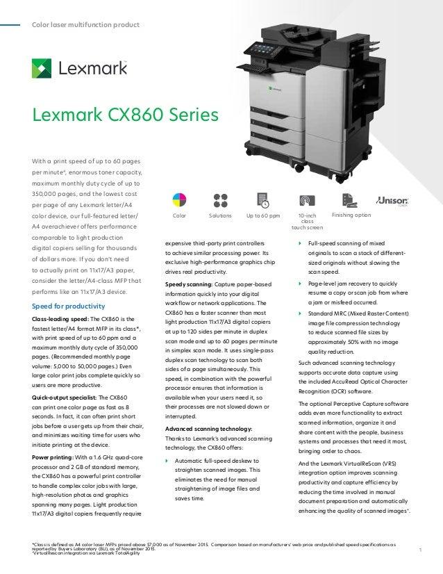 Lexmark CX860 MFP Driver for Windows 10